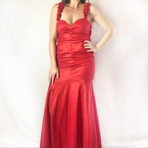 Adrianna Papell red mermaid evening gown sz 4
